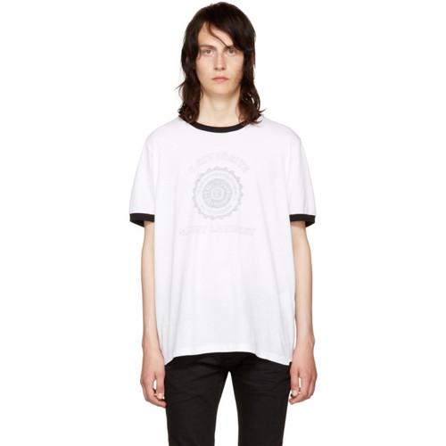 SAINT LAURENT White 'Université' Logo Ringer T-Shirt