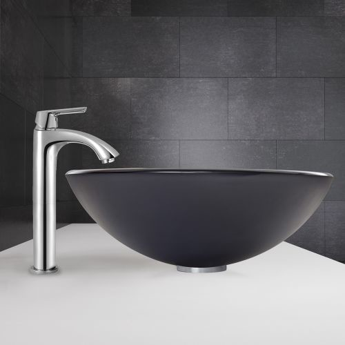 VIGO Glass Vessel Sink in Sheer Black Frost and Linus Faucet Set in Chrome