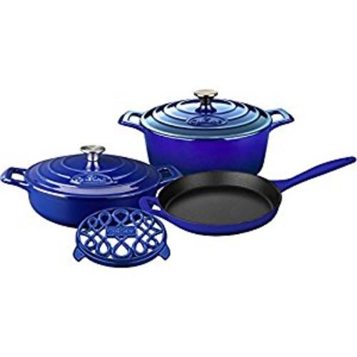 La Cuisine LC 2879MB 6 Piece Pro Enameled Cast Iron Round Casserole/Trivet Cookware Set, High Gloss Sapphire [High Gloss Sapphire]