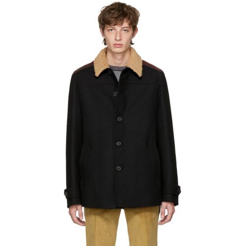PRADA Black Shearling Collar Coat