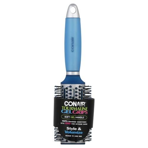 Conair Brush Gel Grips Soft Gel Handle Round Tourmaline Hair Brush