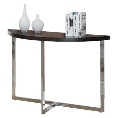 Console Table - Cappuccino/Chrome - Monarch Specialties
