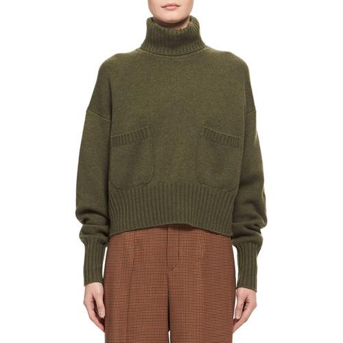 CHLOE Cashmere Patch-Pocket Turtleneck Sweater