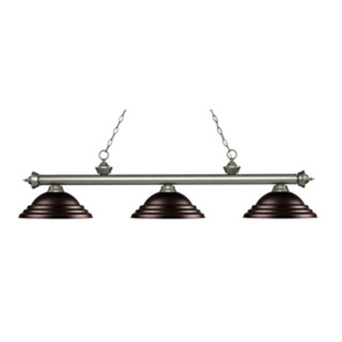 Avery Home Lighting Riviera Antique Silver 3-light Island/Billiard Golden Bronze-finished Light