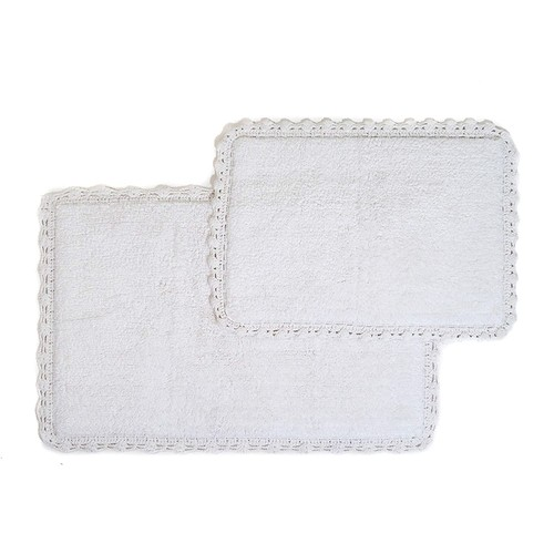 Crochet 2-Piece Bath Rug Set, 21 by 34-Inch and 17 by 24-Inch, Ivory [Ivory]