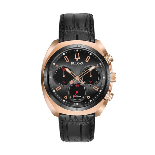 Bulova Men's Chronograph CURV Black Leather Strap Watch 43mm 98A156