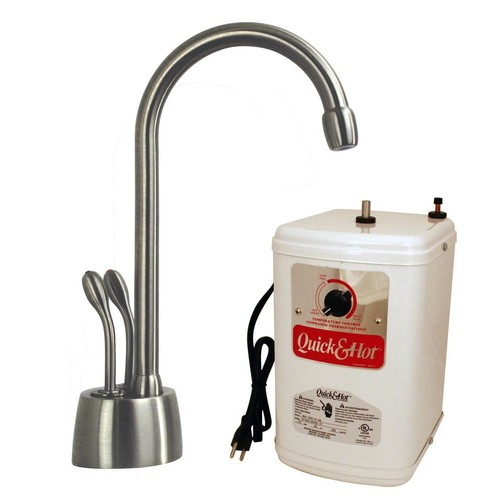 Westbrass Develosah 2-Handle Instant Hot/Cold Water Dispenser Faucet in Stainless Steel with Hot Water Tank