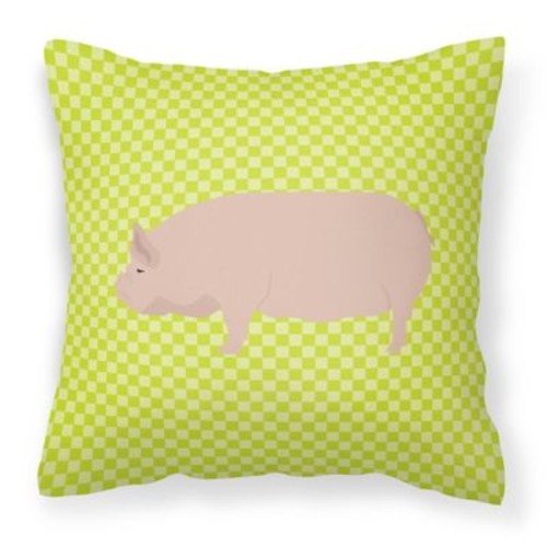 East Urban Home Pig Check Square Canvas Outdoor Throw Pillow; Green