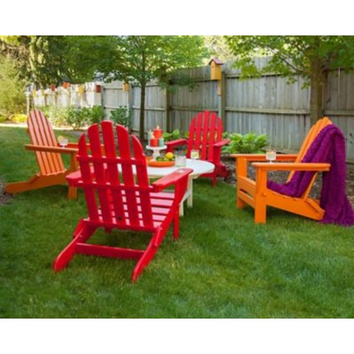 POLYWOOD Classic Folding Conversation Adirondack 5-Piece Seating Group; Sunset Red / Tangerine
