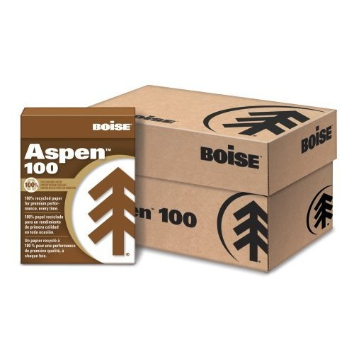 Boise 054922 ASPEN 100% Multi-Use Recycled Paper, 92 Bright, 20lb, 8-1/2 x 11, White (Case of 5000 Sheets)