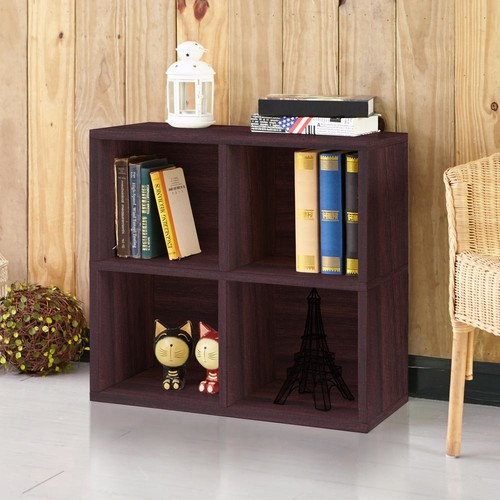 Way Basics Quad 4-Cubby Espresso Eco zBoard Stackable Tool-Free Assembly Bookcase and Storage Shelf Organizer