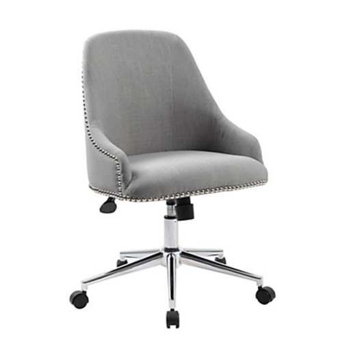 Boss Office Products Carnegie Fabric Mid-Back Desk Chair, Gray/Chrome