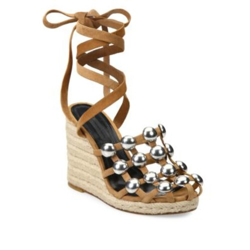 ALEXANDER WANG Taylor Studded Suede Lace-Up Espadrille Wedge Sandals