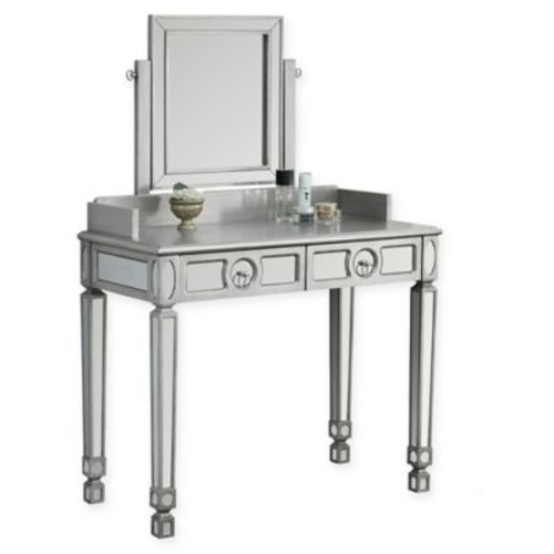 Vanity Table and Mirror in Silver