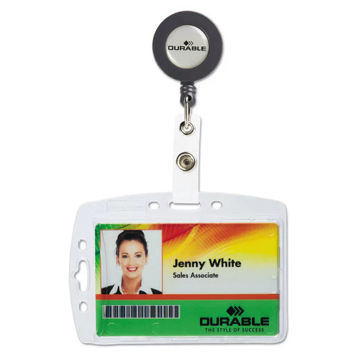 Durable Shell-Style ID Card Holder Vertical/Horizontal With Reel Clear 10/Pack - Clear