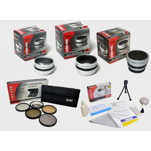 Opteka 3 Lens with 5 PC Filter Kit for Canon VIXIA HF M32