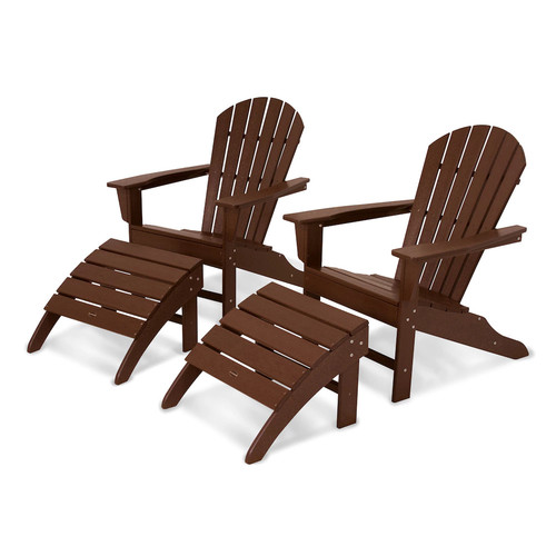 POLYWOOD 4-piece South Beach Outdoor Adirondack Chair & Ottoman Set