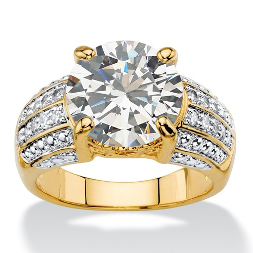 PalmBeach Jewelry 6.40 TCW Round White Cubic Zirconia Multi-Row Two-Tone Engagement Ring 14k Gold-Plated