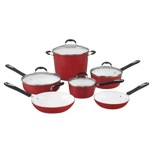 Cuisinart 59-10R Elements Nonstick 10-Piece Cookware Set, Red