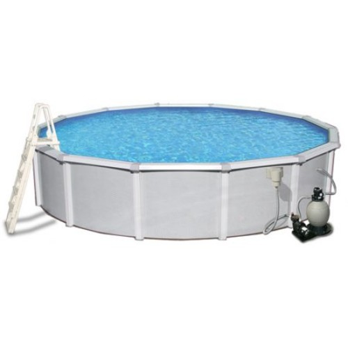 Blue Wave Samoan 24 ft. Round 52 in. Deep 8 in. Top Rail Metal Wall Swimming Pool Package