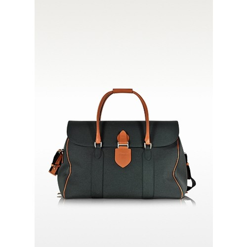 Country Dark Grey Fabric and Brown Leather Travel Bag