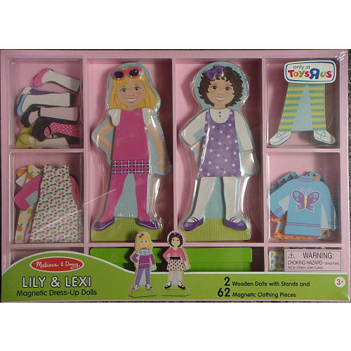 Melissa & Doug Wooden Magnetic Dress-Up Dolls Play Set - Lily and Lexi