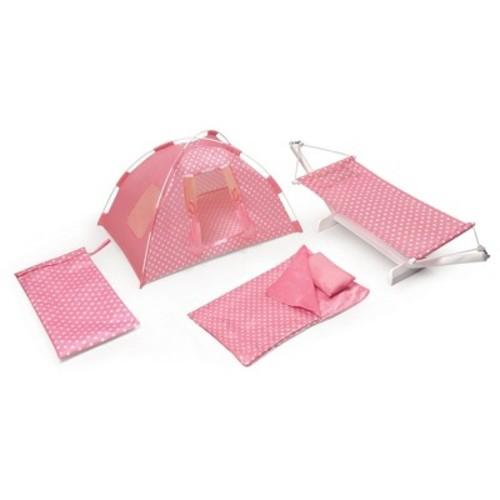 Badger Basket Go Camping Set with Doll Tent, Hammock, Sleeping Bag, and Pillow - Pink Polka Dot