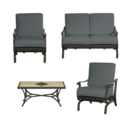 Hampton Bay Pembrey 4-Piece All-Weather Wicker Patio Conversation Set with Peacock Java Cushions
