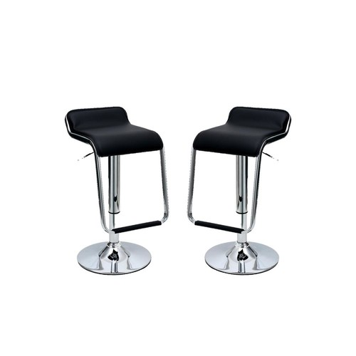 Manhattan Comfort Sophisticated Horatio Black Barstool with a Hanging Footrest (Set of 2)