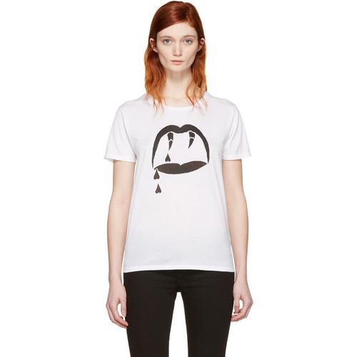 SAINT LAURENT White Blood Luster T-Shirt