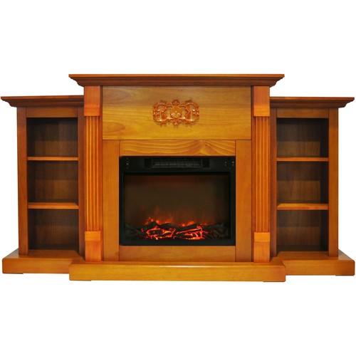 Cambridge Sanoma 72 in. Electric Built-in Bookshelf Fireplace with 1500W Charred Log Insert, Teak