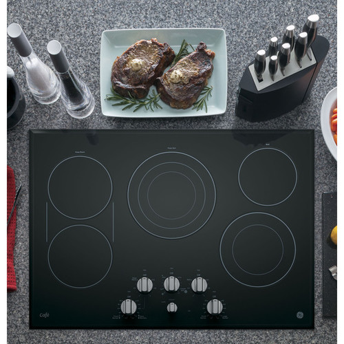 GE Cafe Series 30-inch Built-in Knob Control Electric Cooktop