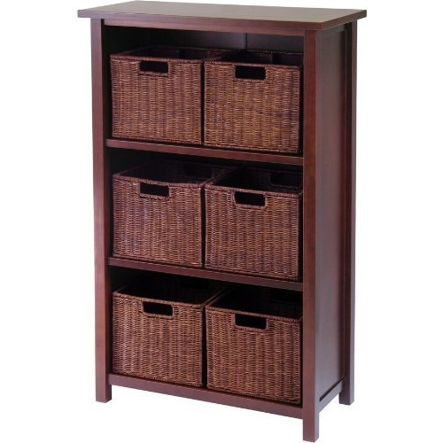 Winsome Wood 94310 Milan 7pc Cabinet/Shelf with Baskets; 6 Small