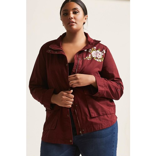 Plus Size Floral Embroidered Jacket