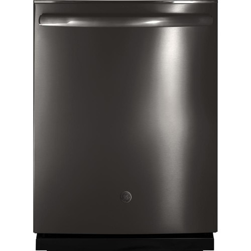 GE Top Control Dishwasher in Black Stainless Steel with Stainless Steel Tub and Steam Prewash, Fingerprint Resistant