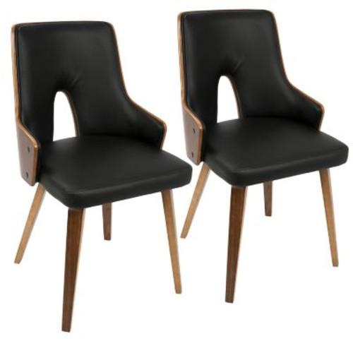 LumiSource Stella Mid-Century Modern Dining Chair in Walnut and Black PU (CH-STLA WL+BK2)