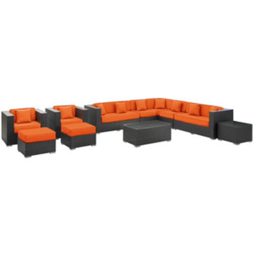 Cohesion Espresso with Off White Cushions Rattan 11-piece Outdoor Set