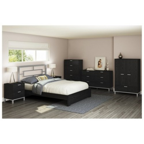 Flexible 2 Drawer Nightstand Black - South Shore