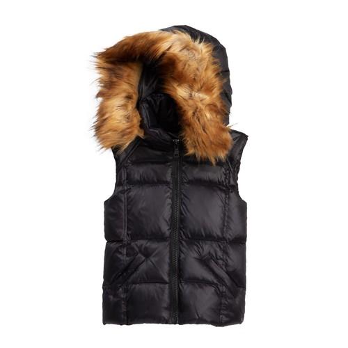 Snowcat Faux Fur Hooded Vest (Toddler & Little Girls)