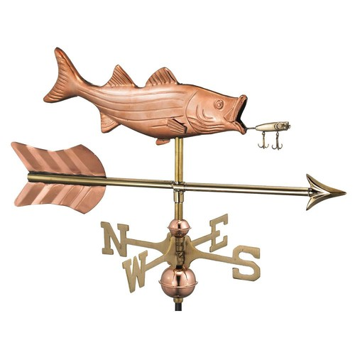 Good Directions Bass with Lure and Arrow Garden Weathervane-Pure Copper with Garden Pole