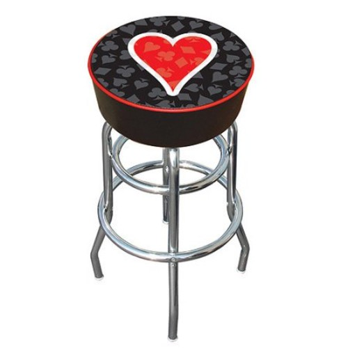 Trademark Global Four Aces Heart Logo Padded Bar Stool