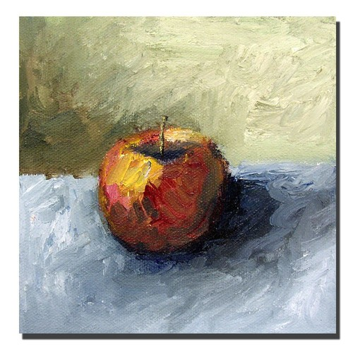Trademark Global Michelle Calkins 'Apple Still Life with Grey and Olive' Canvas Art [Overall Dimensions : 14x14]