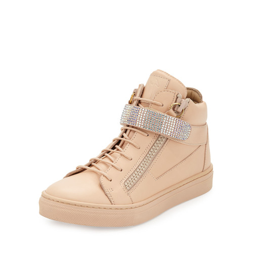 Leather Crystal-Strap High-Top Sneaker, Pink, Infant/Toddler