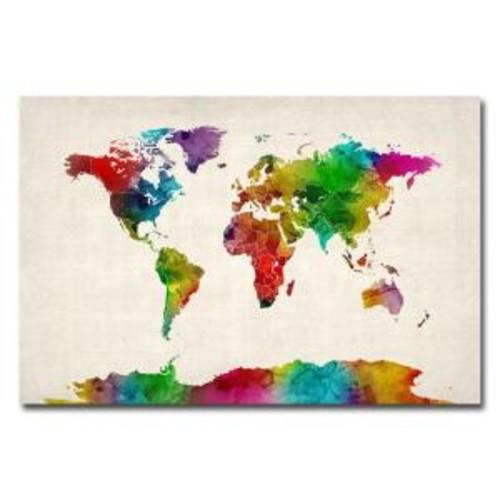 Trademark Fine Art 22 in. x 32 in. Watercolor World Map II Canvas Art