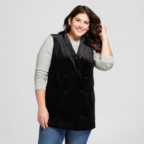 Women's Plus Size Velvet Vest - A New Day Black