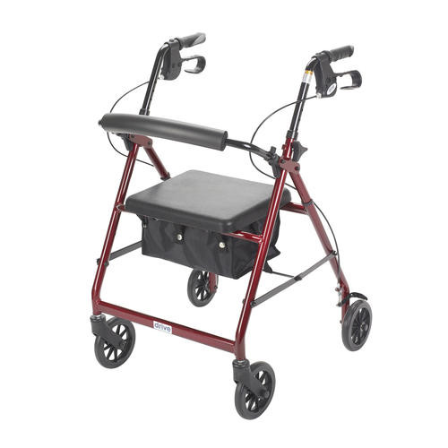 Drive Medical Red Rollator Walker with Fold Up and Removable Back Support and Padded Seat