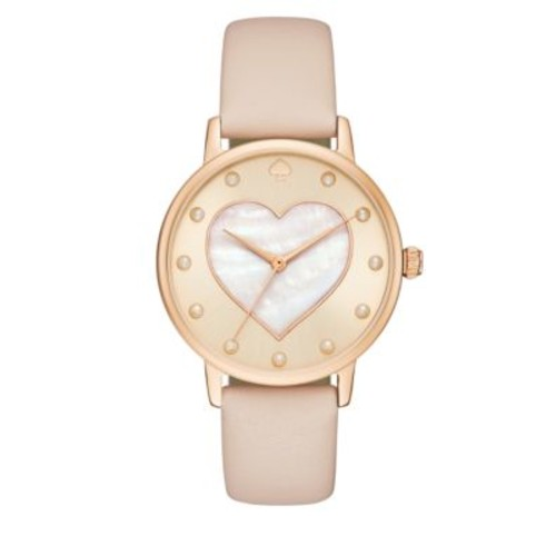 34mm Heart Leather Strap Bracelet Watch