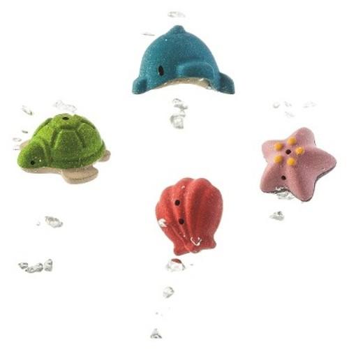 Plan Toys Preschool 4 Piece Sea Life Bath Play Set