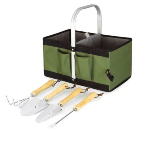 Picnic Time Garden Caddy Collapsible Basket with Tools in Olive