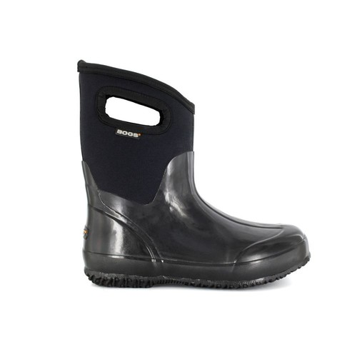 BOGS Classic Mid Women 9 in. Size 7 Glossy Black Rubber with Neoprene Handle Waterproof Boot